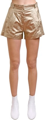 Philosophy di Lorenzo Serafini Metallic Coated Satin Shorts