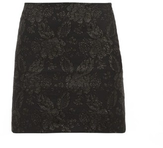Art School Floral-brocade Mini Skirt - Black