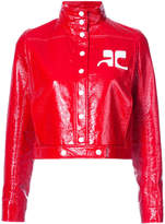 Courreges logo patch cropped bomber jacket