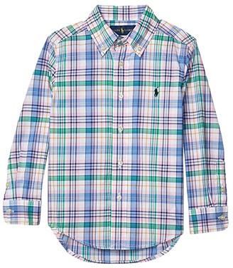 Polo Ralph Lauren Kids Plaid Cotton Poplin Shirt (Little Kids/Big Kids) (Pink/Orange Multi) Boy's Clothing