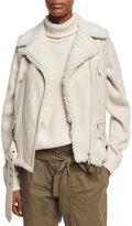 Brunello Cucinelli Shearling Fur-Lined Moto Vest, Beige