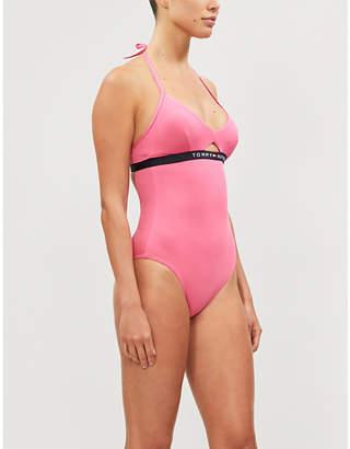 Tommy Hilfiger Logo-print halterneck swimsuit
