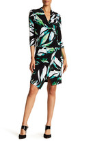 Chetta B Long Sleeve Printed Faux Wrap Dress