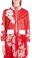Fendi Women's Floral Applique Leather Baseball Jacket