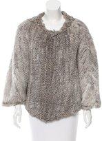 Adrienne Landau Knitted Fur Poncho