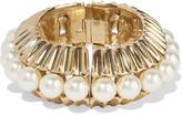Oscar de la Renta Gold-tone faux pearl bracelet