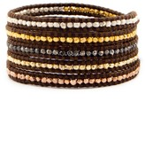 Chan Luu Mixed Nugget Wrap Bracelet on Brown Leather