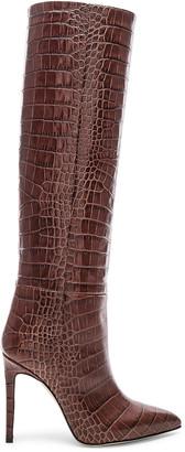 Paris Texas Stiletto Knee High Boot in Brown Croc | FWRD