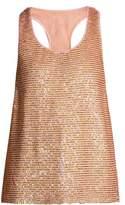 Ashish Striped sequin-embellished silk top