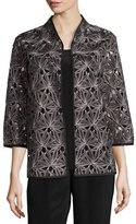 Caroline Rose Laser Leaf Embroidered Jacket
