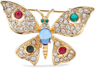 Kenneth Jay Lane Gold-tone, Crystal And Resin Brooch