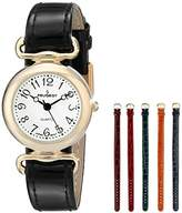 Peugeot Women's Gold-Tone Metal with Five Slide Thru Interchangeable Leather Bands Watch Gift Set 676