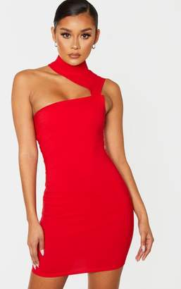 Ooh! La Oohla Red High Neck Sleeveless Cut Out Bodycon Dress