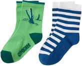 Gymboree Green Croc & Blue Stripe Two-Pair Socks Set