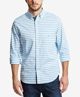 Nautica Men's Stretch Long Sleeve Horizontal Stripe Button Down Shirt