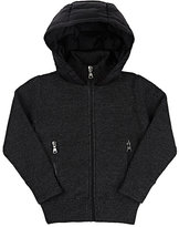 Moncler Rib-Knit & Down-Quilted Hooded Sweater-GREY