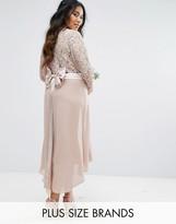 TFNC Plus Wedding Lace Midi Dress With Bow Back