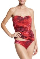 Tommy Bahama Poppy Floral V-Wire Bandini Swim Top, Red