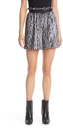 Self-Portrait Belted Animal Sequin Paperbag Shorts