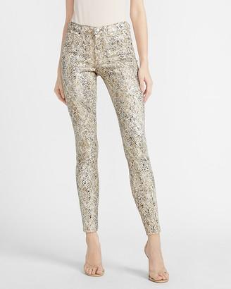 Express Mid Rise Foil Snakeskin Print Skinny Jeans