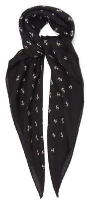 Saint Laurent Anchor-print Wool Scarf - Black White