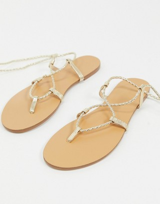 Pimkie braided wrapround flat sandals in gold