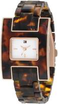 Tommy Hilfiger Women's Fashion Tortoise H Inspired Logo Case Watch 1781166
