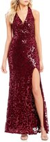 Jodi Kristopher Sequin-Patterned Long Dress