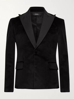 Amiri Slim-Fit Silk Satin-Trimmed Cotton-Blend Velvet Blazer