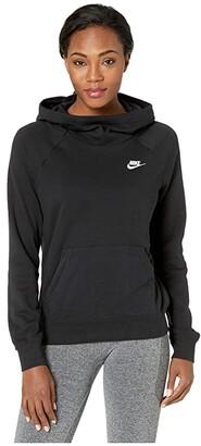 Nike NSW Essential Funnel Pullover Fleece (Black/White) Women's Clothing