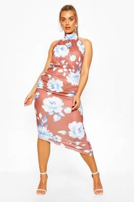 boohoo Plus Floral High Neck Midi Dress