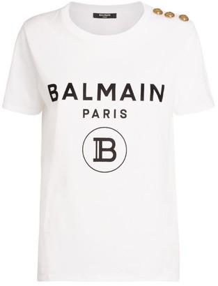 Balmain Flocked Logo Button T-Shirt