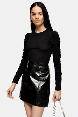 Topshop Womens Black Ruched Long Sleeve Mesh Top - Black