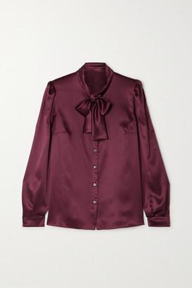 Dolce & Gabbana Pussy-bow Silk-satin Blouse - Plum