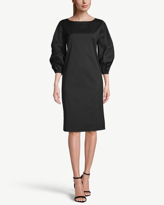 Chico's 3/4-Sleeve Poplin Black Shirt Dress