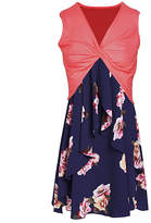 Cellabie CELLABIE Women's Casual Dresses Red - Red & Navy Floral Two-Piece Sleeveless Dress - Women