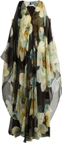 Lanvin English Rose-print silk-voile gown