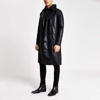 River Island Mens Smart Western Black faux leather trench coat