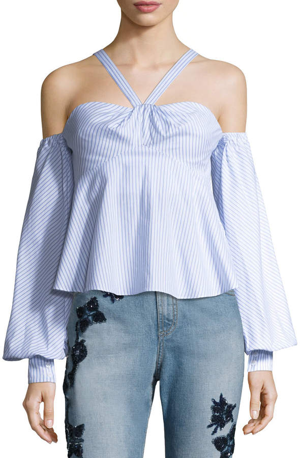 Jonathan Simkhai Pinstripe Off-the-Shoulder Blouson-Sleeve Bustier Top