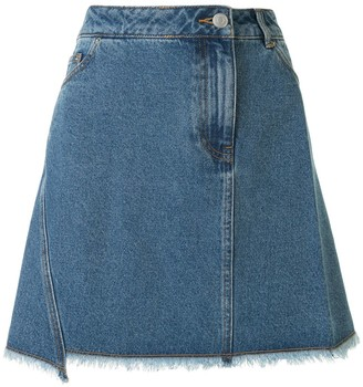 Portspure frayed A-line denim skirt
