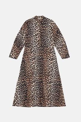Ganni Printed Cotton Poplin Midi Dress In Leopard - 34