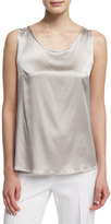 Peserico Scoop-Neck Charmeuse Shell, Stone