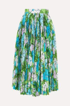 Richard Quinn Pleated Floral-print Silk Midi Skirt - Blue