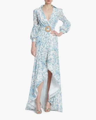 Badgley Mischka Floral Eyelet Hi-Low Dress