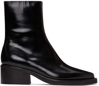Y/Project Black Leather Fitted Boots