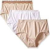 Olga Women's 3 Pack Without a Stitch Lace Brief Panty
