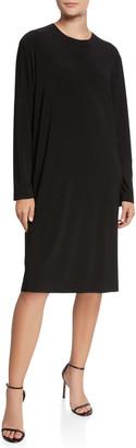 Norma Kamali Boyfriend Crewneck Long-Sleeve Knee-Length Dress