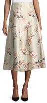 Co Floral-Jacquard Long Taffeta Skirt