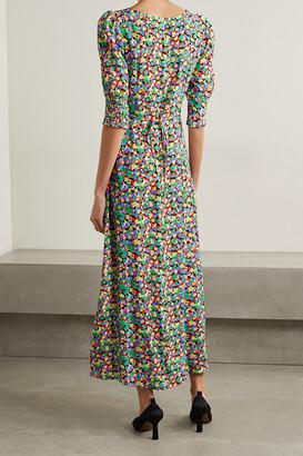 Rixo Luisa Printed Crepe Midi Dress - Blue