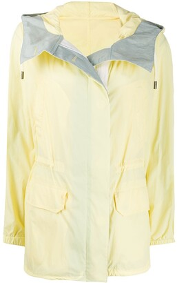 Yves Salomon Colour Block Hooded Rain Coat